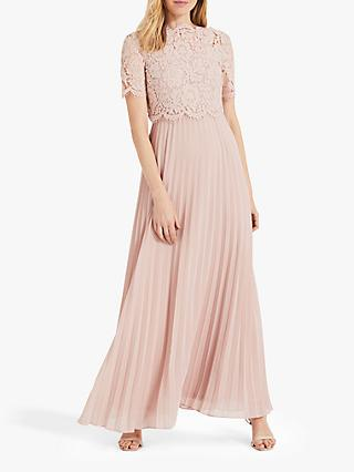 Phase Eight Elisabetta Lace Overlay Maxi Bridesmaid Dress, Petal Pink
