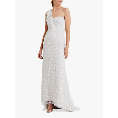 Phase Eight Anabel Embroidered One Shoulder Wedding Dress, Pink Champagne