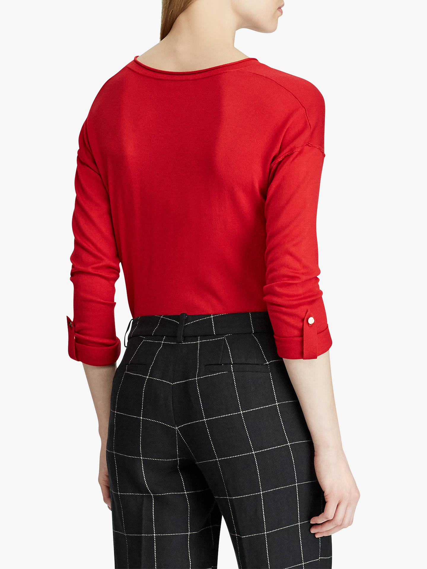 Buy Lauren Ralph Lauren Adrien V-Neck Sweater, Lipstick Red, XS Online at johnlewis.com
