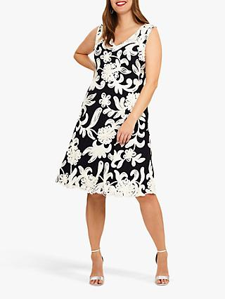 Studio 8 Ottoline Floral Tapework Dress, Navy/Ivory