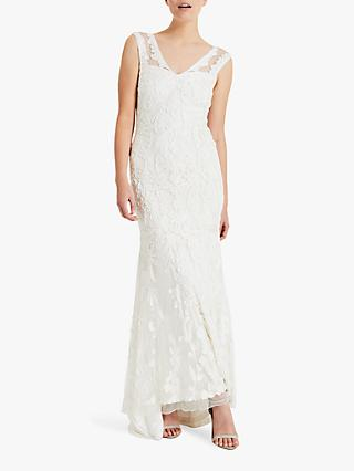 Phase Eight Valerie Floral Lace Bridal Dress, Cream