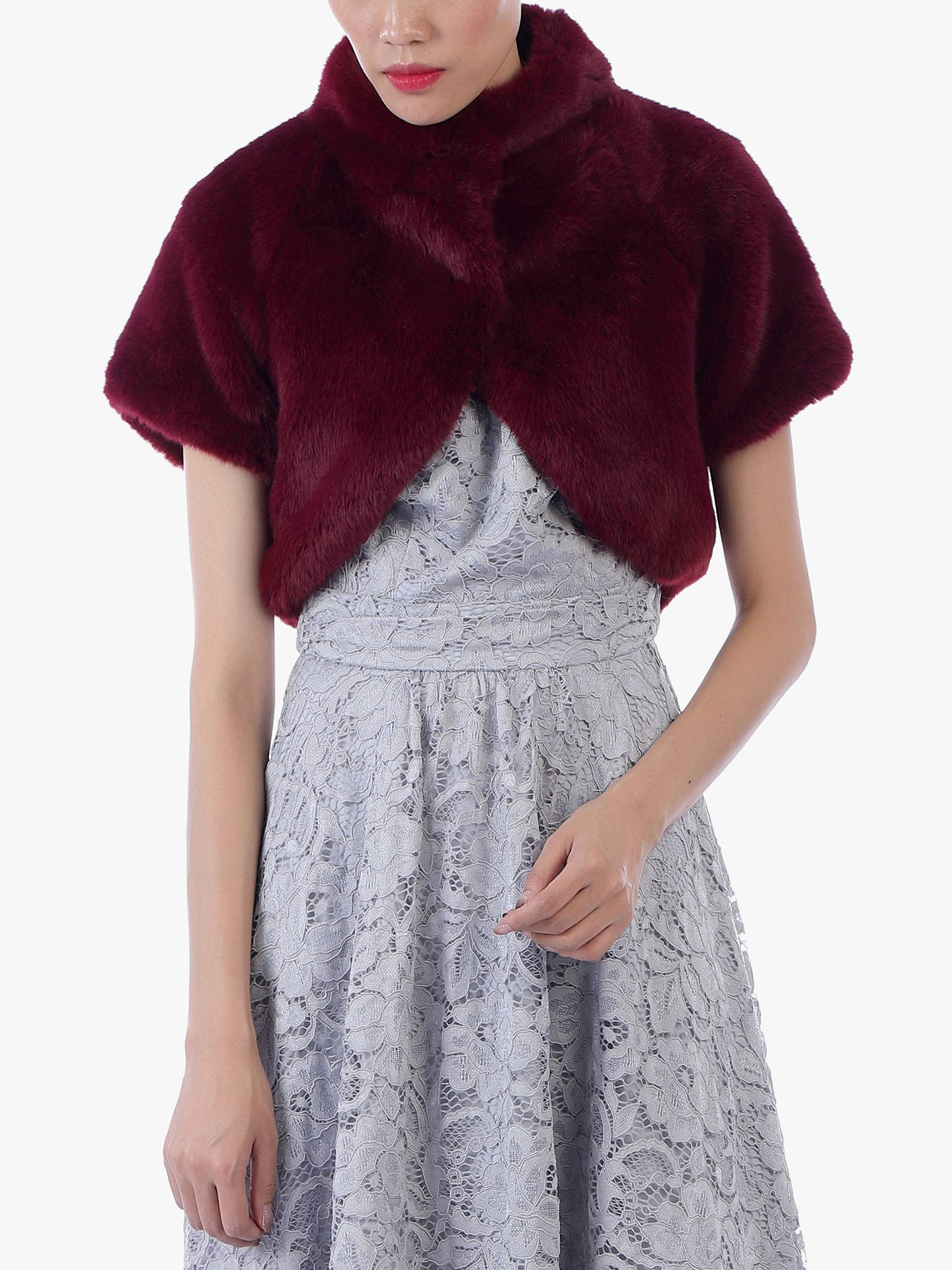 Buy Jolie Moi Faux Fur Bolero, Burgundy, 16 Online at johnlewis.com