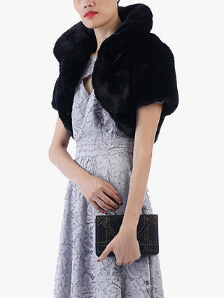 Buy Jolie Moi Faux Fur Shrug, Black, 10 Online at johnlewis.com