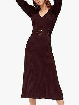 Warehouse Ribbed Midi Dress, Berry