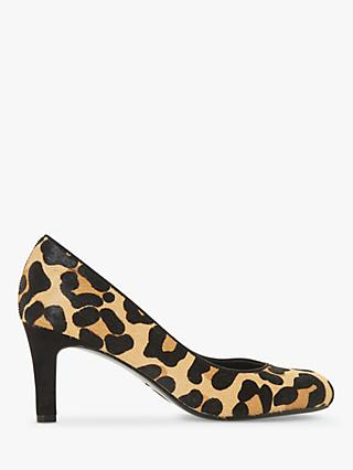 Dune Bellowes Amalei Pony Leopard Print Court Shoes, Brown