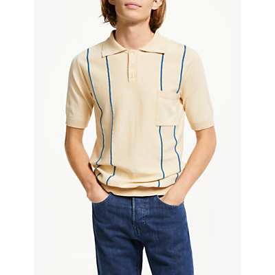 Far Afield Striped Knitted Polo Shirt