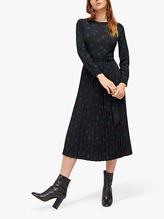 Warehouse Spot Pleated Dress, Black
