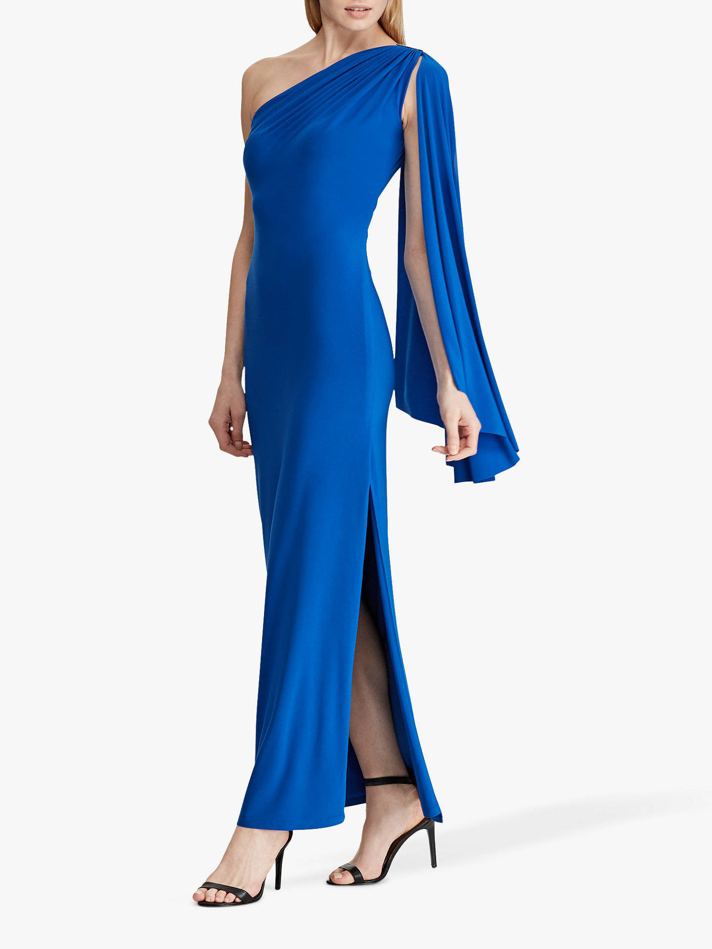 8a4810a099a0 Buy Lauren Ralph Lauren Dellah One Shoulder Evening Dress, Portuguese Blue,  6 Online at ...