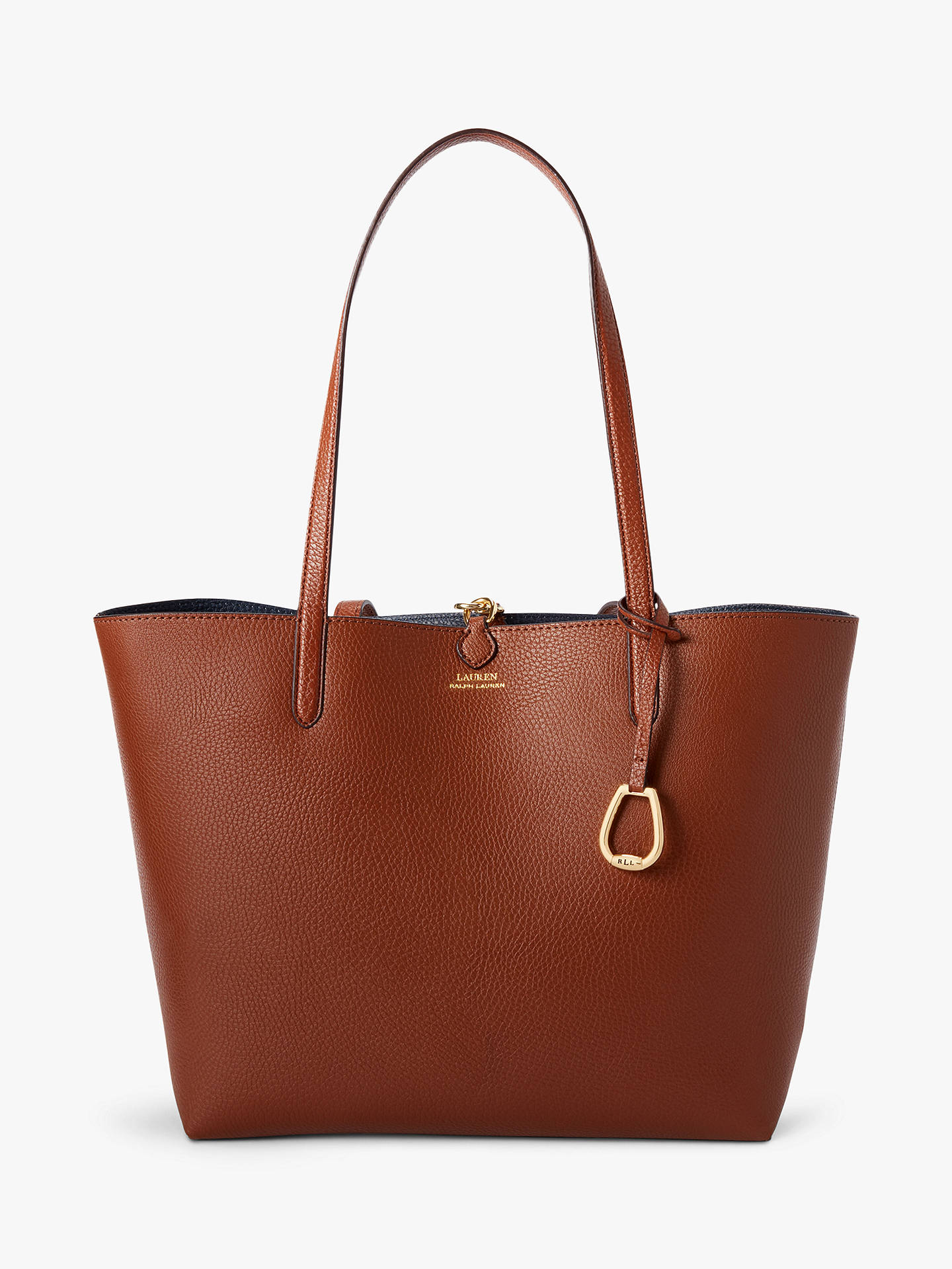 05aa13597a1 Buy Lauren Ralph Lauren Reversible Faux Leather Tote Bag, Tan/Navy Stripe  Online at ...