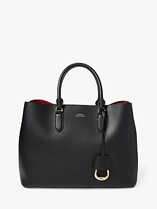 Ralph Lauren Marcy Large Leather Satchel Bag, Black/Red