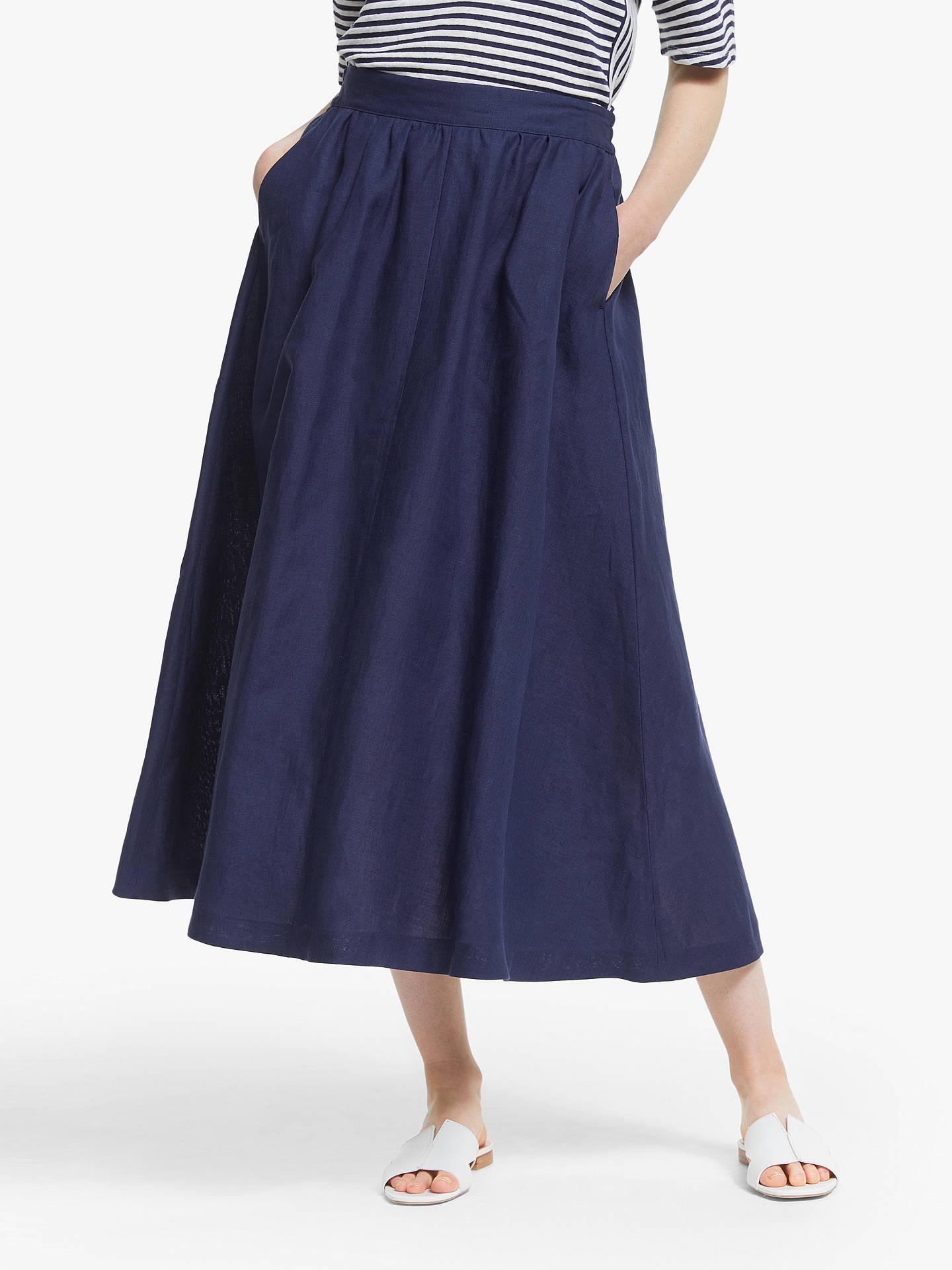 ee5c9fe6c High Waisted Linen Midi Skirt