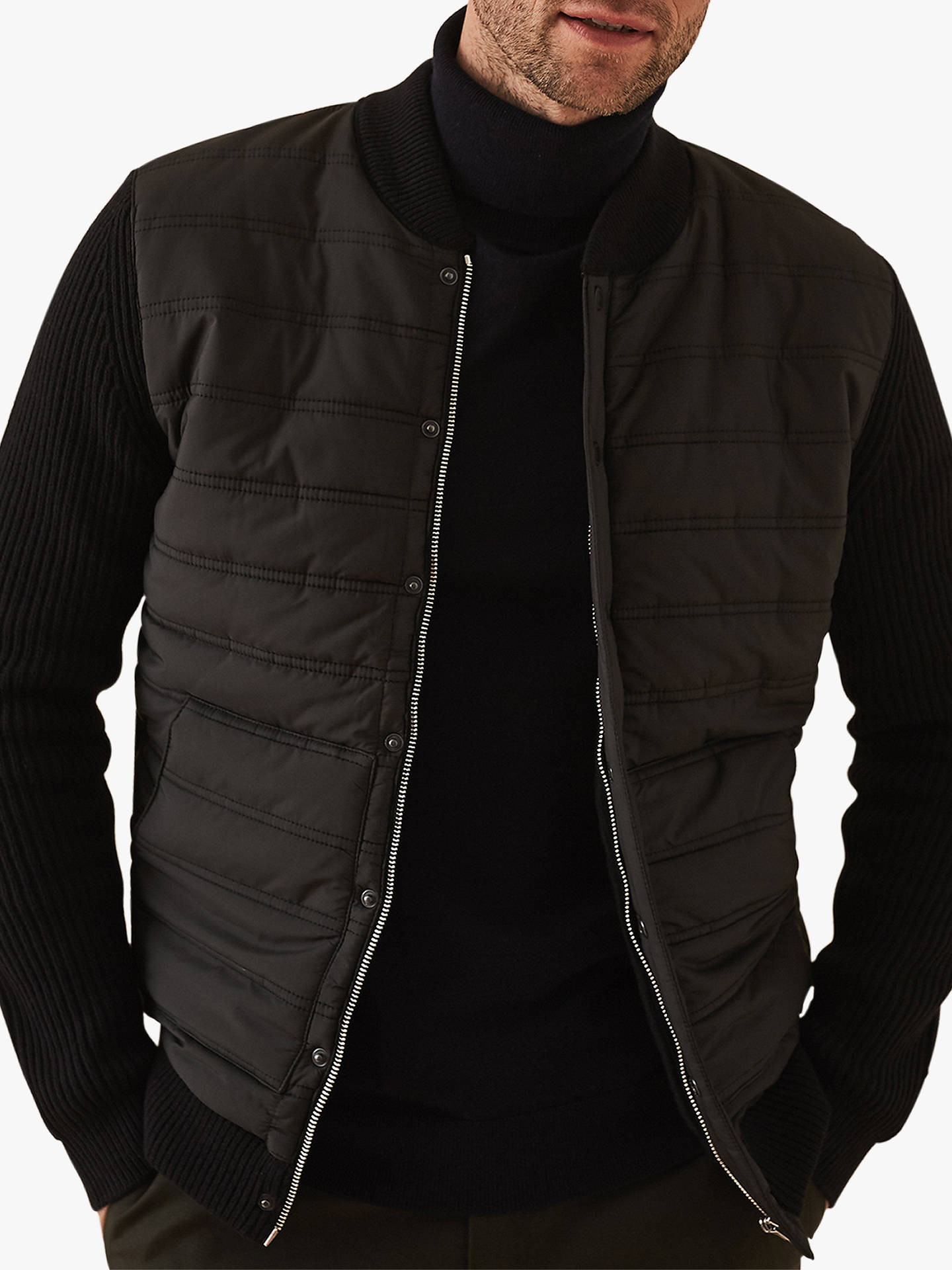 9a6581453 Reiss Watson Long Sleeve Quilted Bomber Jacket, Black at John Lewis ...