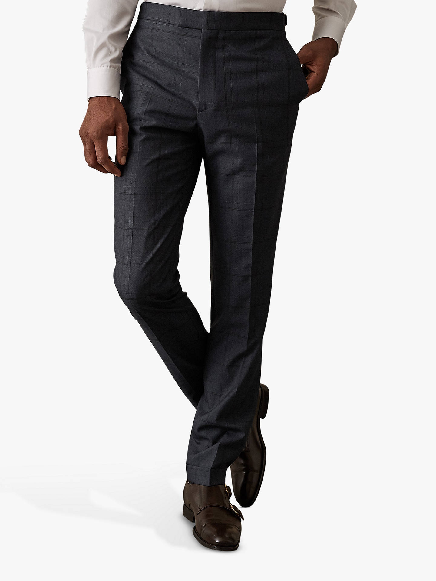 1f2f0fe0060c Buy Reiss Parker Check Tailored Trousers, Blue, 32R Online at johnlewis.com  ...