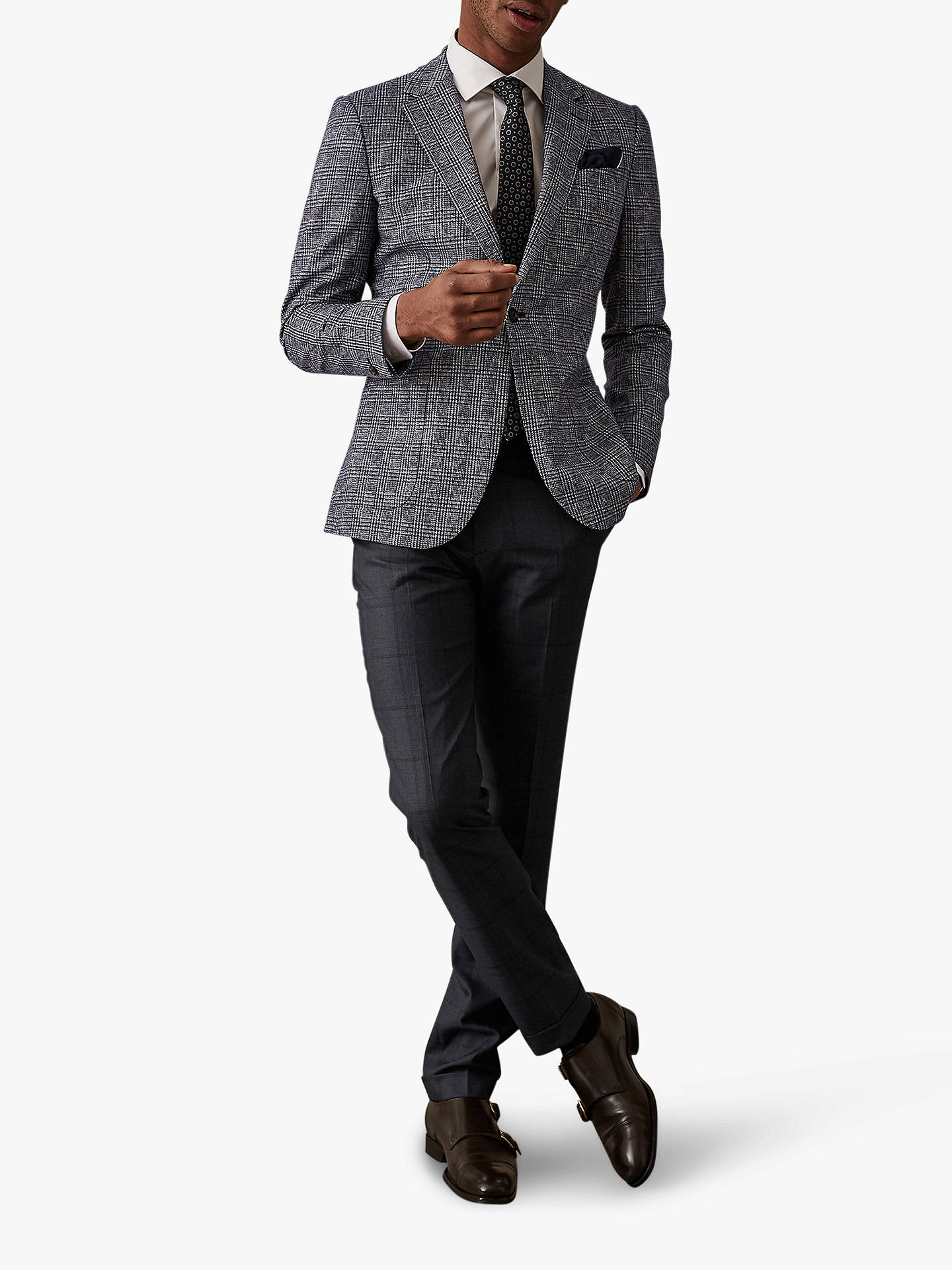 5f2739733d83 ... Buy Reiss Parker Check Tailored Trousers, Blue, 32R Online at  johnlewis.com ...