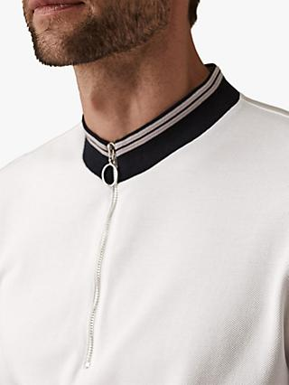 Reiss Monty Ringer Zip Neck Top, White