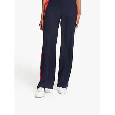 Boden Exeter Wide Leg Trousers, Navy Stripe