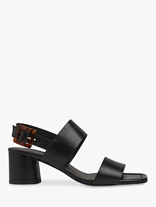 Whistles Avery Tortoise Buckle Sandals, Black Suede