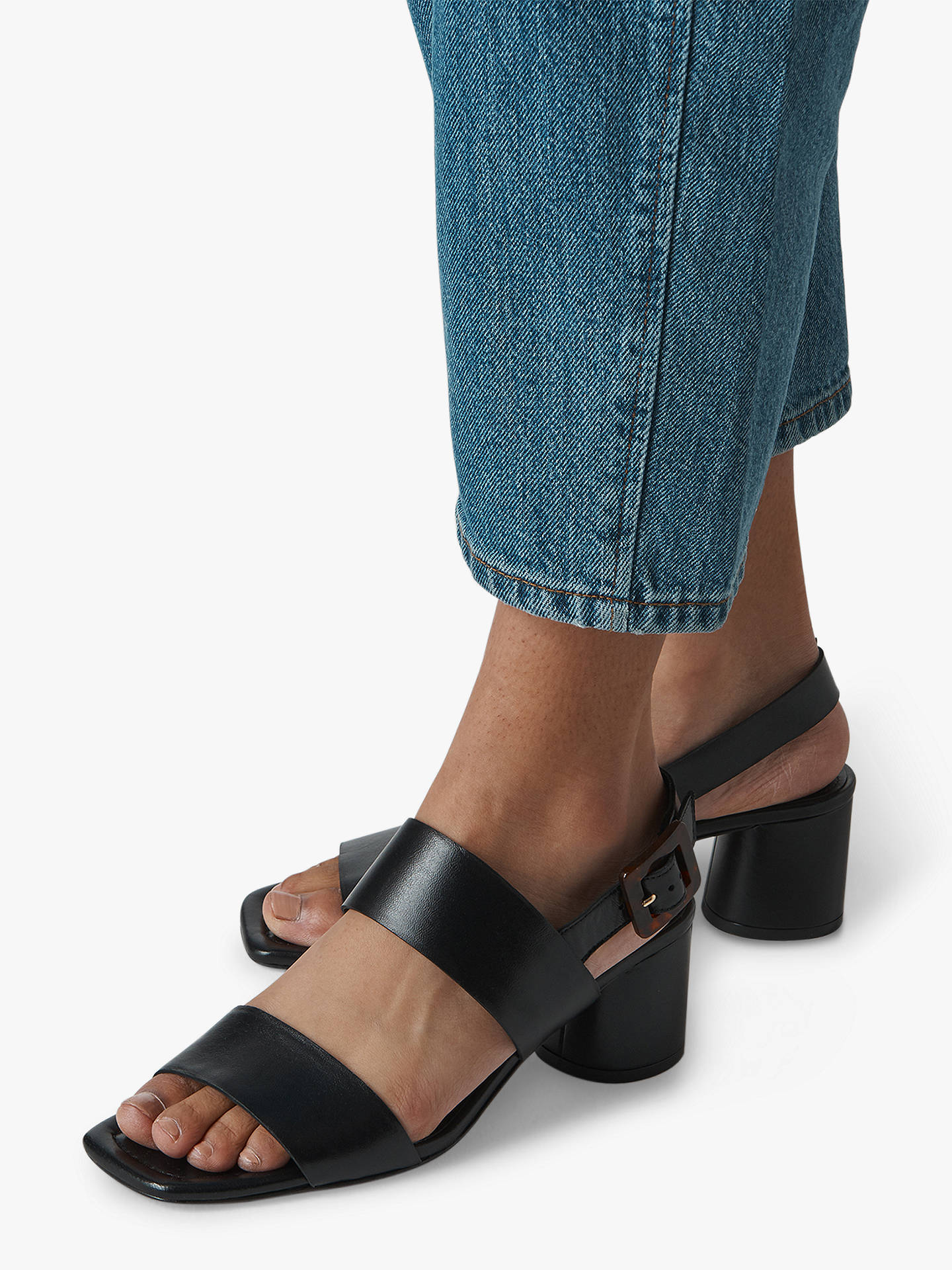 Buy Whistles Avery Tortoise Buckle Sandals, Black Suede, 4 Online at johnlewis.com