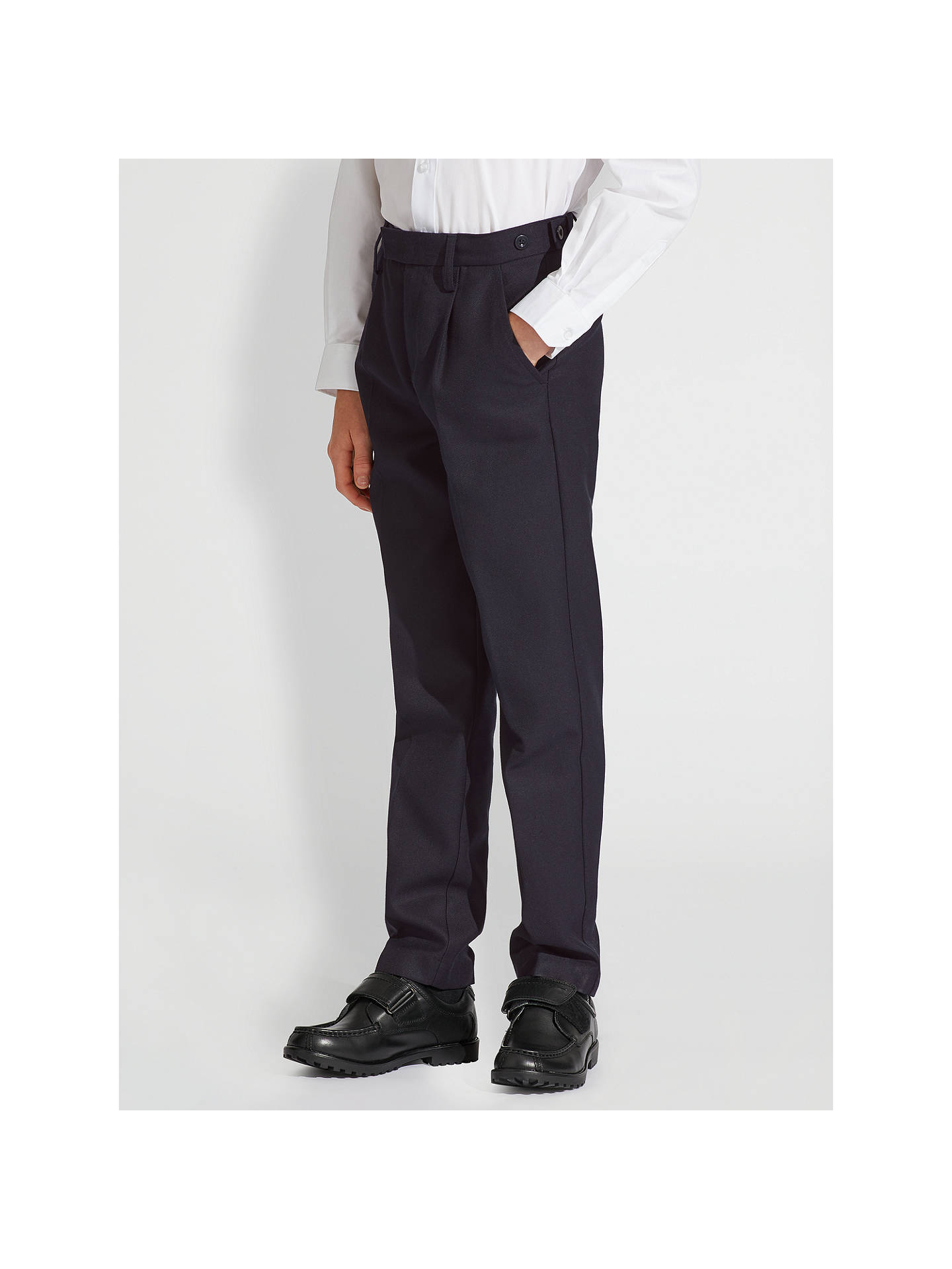 Buy John Lewis & Partners Boys' Easy Care Adjustable Waist Tailored Fit School Trousers, Navy, 8 years, Regular Online at johnlewis.com