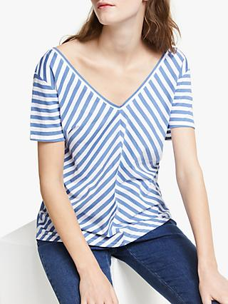 Collection WEEKEND by John Lewis V-Front & Back Stripe T-Shirt, Blue/White