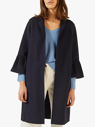 Jigsaw Double Face Bell Sleeve Coat, Navy