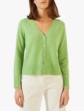 Jigsaw Cloud Cashmere V-Neck Cardigan, Spring Green