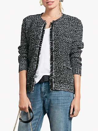 hush Basket Stitch Jacket, Black/Ecru