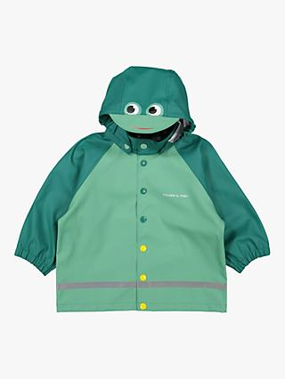 Polarn O. Pyret Children's Frog Hood Raincoat, Green