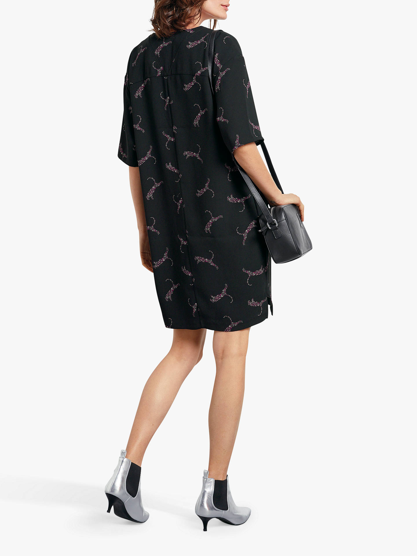 Buy hush Grace Leopard Dress, Black, 14 Online at johnlewis.com