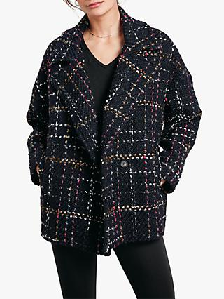 hush Cropped Check Coat, Black/Multi