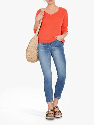 hush Frida Cashmere V-Neck Jumper, Living Coral