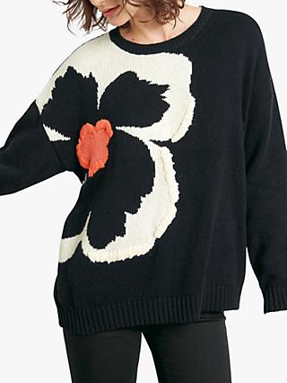 hush Emmeline Oversized Flower Jumper, Black