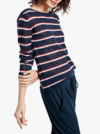hush Stripe Jumper, Midnight Blue/Red/Ecru