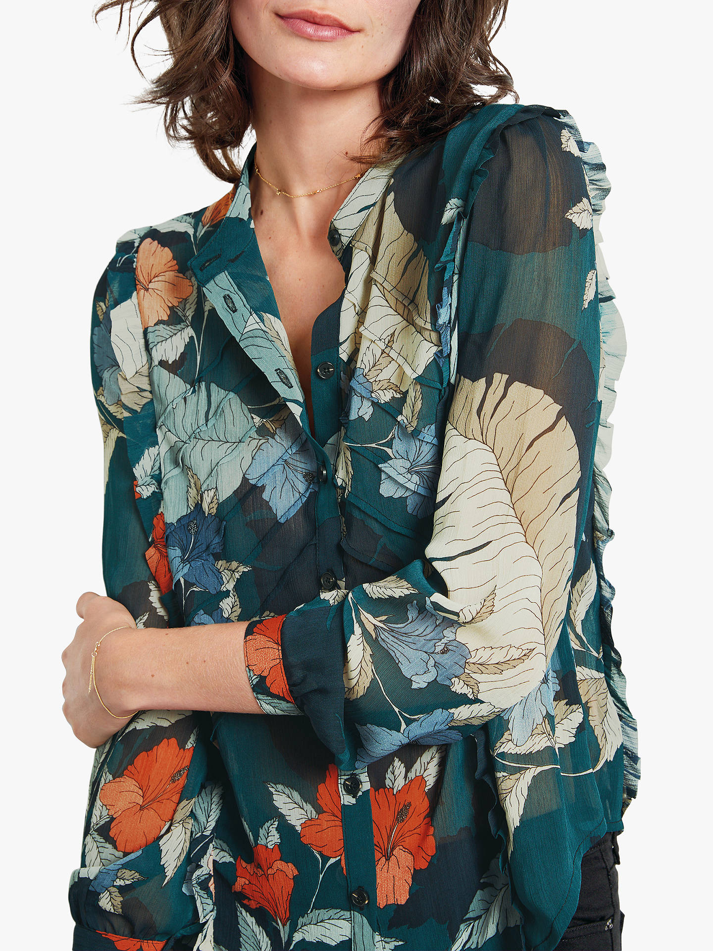 Buyhush Elspeth Ruffle Shirt, Hibiscus Print, 8 Online at johnlewis.com