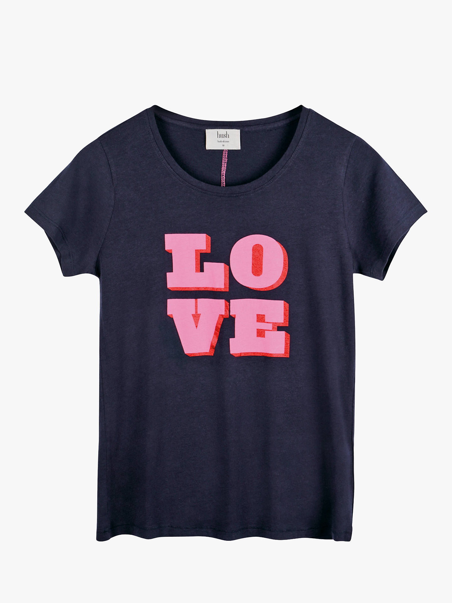 Buyhush Double Love T-Shirt, Midnight/Pink, L Online at johnlewis.com
