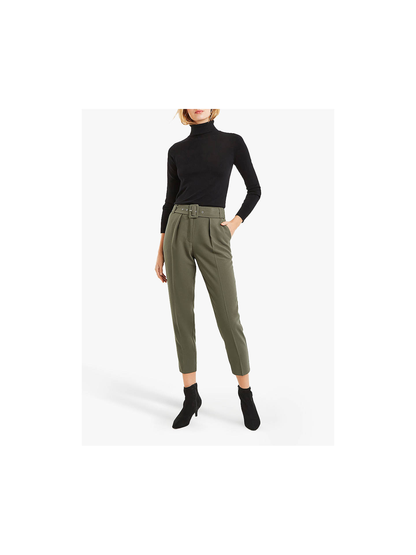 BuyOasis Belted Peg Trousers, Khaki, 6S Online at johnlewis.com