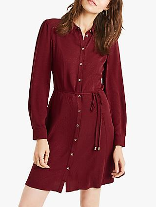 Oasis Skater Shirt Dress, Burgundy