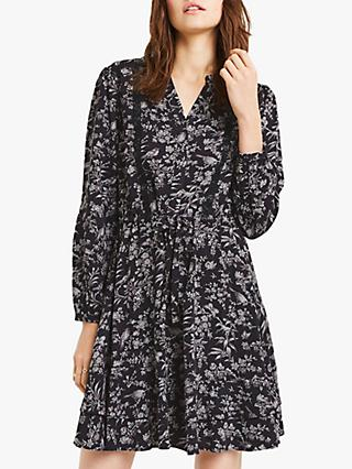 Oasis Rose Bird Shirt Dress, Blue/Multi