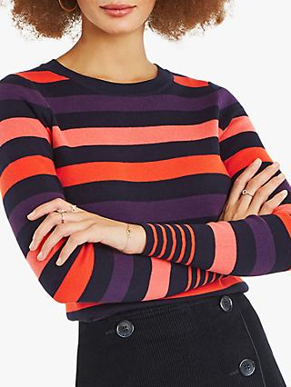 Oasis Clara Stripe Crew Neck Jumper, Multi