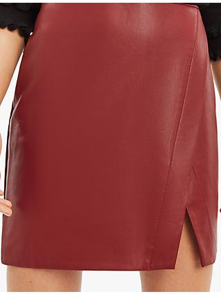 Oasis Wrap Faux Leather Skirt, Rich Red