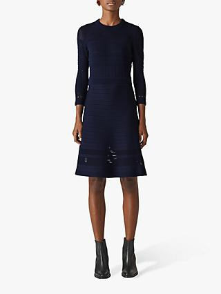 Whistles Pointelle Jersey Dress, Navy