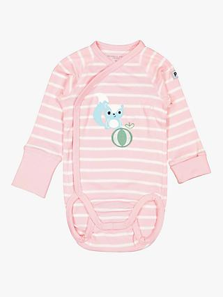 Polarn O. Pyret Baby GOTS Organic Cotton Squirrel Stripe Bodysuit, Pink
