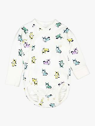 Polarn O. Pyret Baby Organic Cotton Pony Wraparound Bodysuit, White