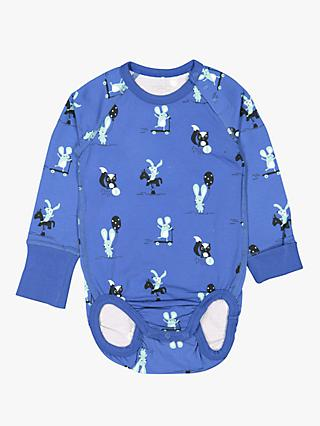 Polarn O. Pyret Baby GOTS Organic Cotton Playing Animals Bodysuit, Blue