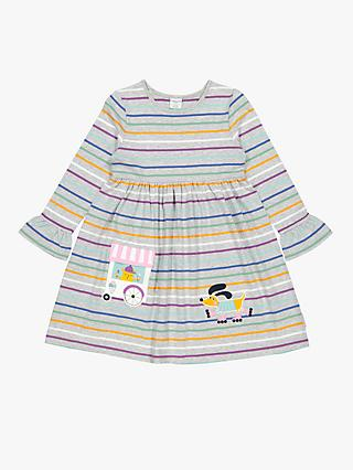 Polarn O. Pyret Children's Stripe Dog Applique Dress, Grey