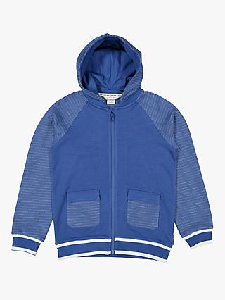 Polarn O. Pyret Children's GOTS Organic Cotton Textured Hoodie, Blue