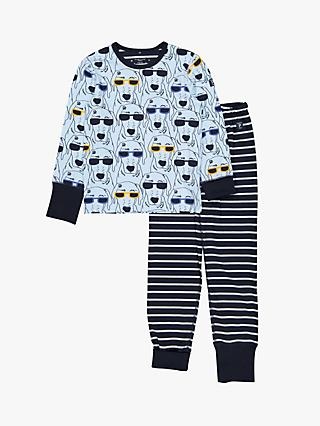 Polarn O. Pyret Children's Dog Stripe Pyjamas, Blue