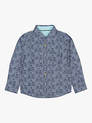 Polarn O. Pyret Children's Reversible Bike Print Shirt, Blue