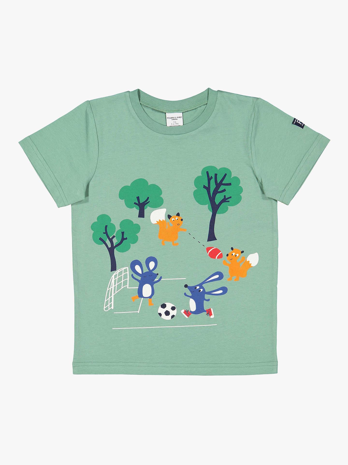 14d16459 Buy Polarn O. Pyret Children's GOTS Organic Cotton Graphic Print T-Shirt,  Green ...