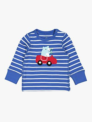 Polarn O. Pyret Baby Stripe Applique Top, Blue